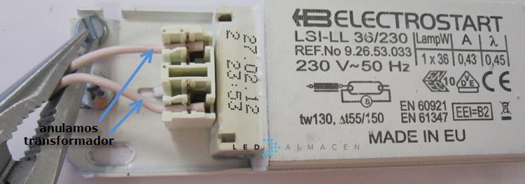 detalle trasnformador luminaria fluorescentes