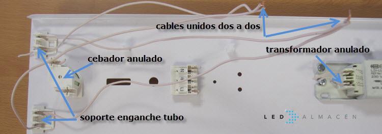 cables de luminaria empalmados