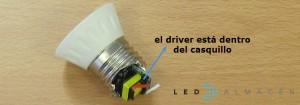 detalle driver bombilla led